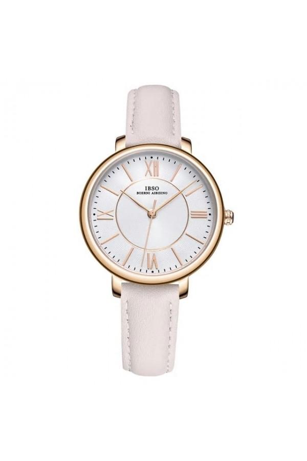 Elegancki damski zegarek na pasku z tarczą i skórzanym paskiem w kolorzebiałym oraz kopertą w kolorze złotym. -