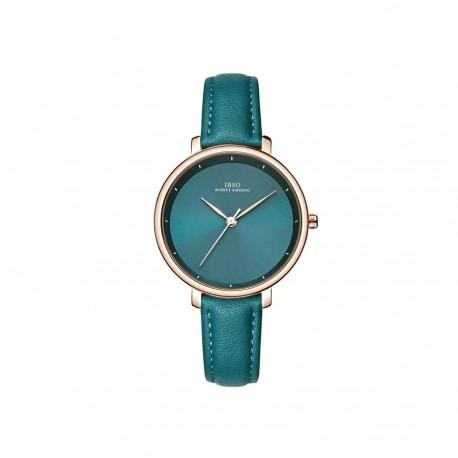 Elegancki damski zegarek na pasku z tarczą i skórzanym paskiem w modnym kolorzebutelkowej zieleni oraz kopertą w kolorz