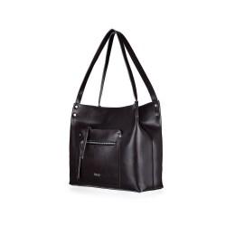 Skórzana torba damska shopper Vitoria FL18 czarna