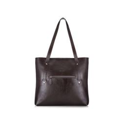 Skórzana torba damska Parma FL23 ciemny brąz