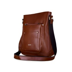 Skórzana torba damska listonoszka Parla FL21 brązowa vintage