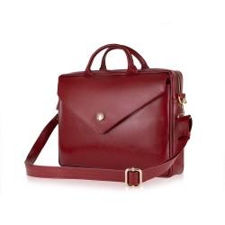 Skórzana damska torba na laptopa FL15 Positano burgundowa