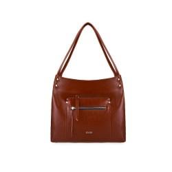 Skórzana torba damska shopper Vitoria FL18 brązowa vintage