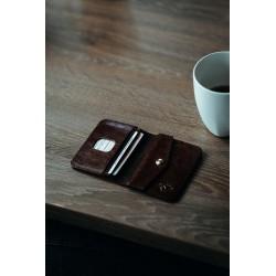 Elegancki skórzany męski portfel z miejscem na bilon SW16