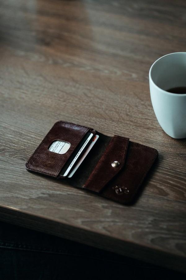 Solidny cienki mały skórzany męski portfel czarny SW16