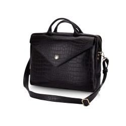 Skórzana torba na laptopa FL15 Positano czarny z motywem zwierzęcym