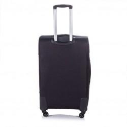 Duża walizka miękka XL Solier STL1316 czarno-brązowa