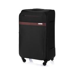 Średnia walizka miękka M Solier STL1316 czarno-brązowa