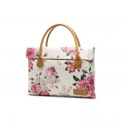 Piękna damska torba na laptopa z nadrukiem na wzór kwiatów. Do wyboru 4 rozmiary. Stworzona z wodoodpornego materiału, a