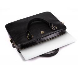 Skórzana torba na laptopa FL24 Venice czarny z motywem zwierzęcym