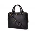 Skórzana torba na laptopa 13,3'' FL26 Alcamo czarny z motywem zwierzęcym