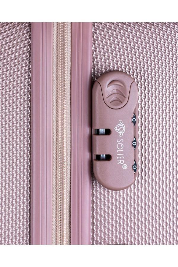 Walizka podróżna mała ABS STL946 różowa
