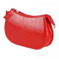 Klasycznai wytrzymała skórzanaczerwona kosmetyczka damska.Saszetka wykonana z skóry naturalnej przez pracowników firm