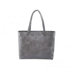 Damska skórzana torba na ramię w stylu shopper w szarym kolorze. -