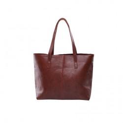 Damska skórzana torba na ramię w stylu shopper wciemnym brązowym kolorze. -