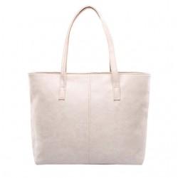 Damska skórzana torba na ramię w stylu shopper wbeżowym kolorze. -