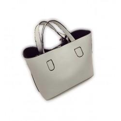 Wygodna damska torebka z organizerem w kolorze szarym. -