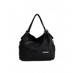 Klasycznaskórzana torba damska na ramię lub do ręki w czarnym kolorze. -