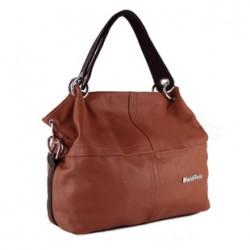 Klasycznaskórzana torba damska na ramię lub do ręki wbrązowym kolorze. -