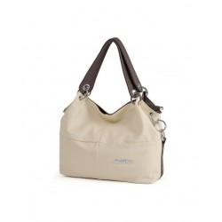 Klasycznaskórzana torba damska na ramię lub do ręki wbeżowym kolorze. -