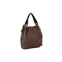 Klasycznaskórzana torba damska na ramię lub do ręki wciemnym brązowym kolorze. -