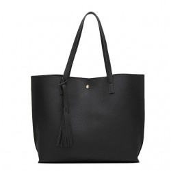 Damska klasyczna shopperka wykonana z skóry ekologicznej w kolorze czarnym. -