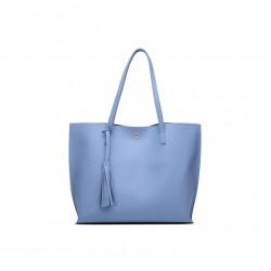 Damska klasyczna shopperka wykonana z skóry ekologicznej w kolorze niebieskim. -