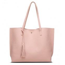 Damska klasyczna shopperka wykonana z skóry ekologicznej w kolorze różowym. -