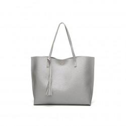 Damska klasyczna shopperka wykonana z skóry ekologicznej w kolorze srebrnym. -