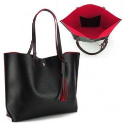 Damska klasyczna shopperka wykonana z skóry ekologicznej w kolorze czarnym z czerwonym środkiem. -