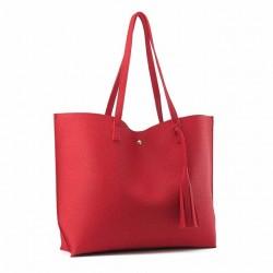 Damska klasyczna shopperka wykonana z skóry ekologicznej w kolorze czerwonym. -