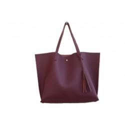 Damska klasyczna shopperka wykonana z skóry ekologicznej w kolorze burgundowym. -