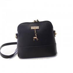 Mini torebka skórzana z jelonkiem w kolorze czarnym. -