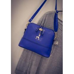 Mini torebka skórzana z jelonkiem w kolorze niebieskim. -