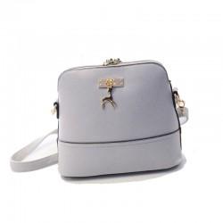 Mini torebka skórzana z jelonkiem w kolorze szarym. -