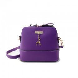 Mini torebka skórzana z jelonkiem w kolorze fioletowym. -