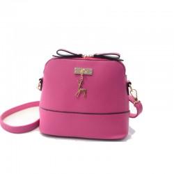 Mini torebka skórzana z jelonkiem w kolorze różowym. -