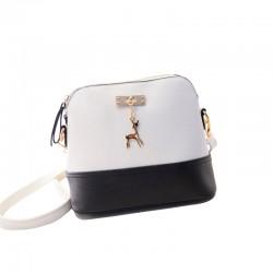 Mini torebka skórzana z jelonkiem w kolorze biało-czarnym. -