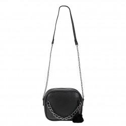 Śliczna skórzana torebka z łańcuszkiem w kolorze czarnym. -