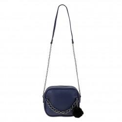Śliczna skórzana torebka z łańcuszkiem w kolorze niebieskim. -