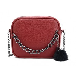 Śliczna skórzana torebka z łańcuszkiem w kolorzeczerwonym. -