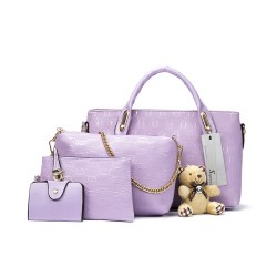 Ekskluzywny zestaw torebek skórzanych w kolorze fioletowym. -