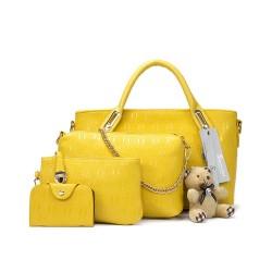 Ekskluzywny zestaw torebek skórzanych w kolorze żółtym. -