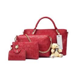 Ekskluzywny zestaw torebek skórzanych w kolorze winnym czerwonym. -