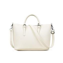 Klasyczna skórzana damska torebka w kolorze kremowym. -