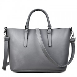 Klasyczna skórzana damska torebka w kolorze szarym. -