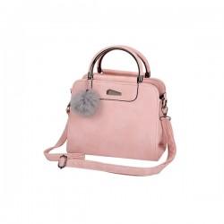 Różowymały skórzany kuferek z pomponem. -